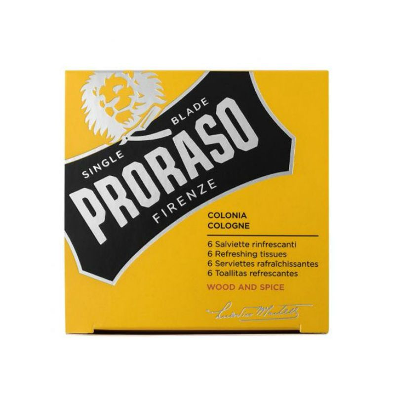 Proraso Cologne Refreshing Tissues Wood And Spice 6st